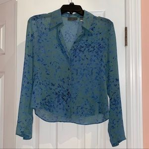 Banana Republic Sheer Silk Button Down Blouse